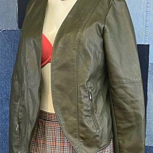 Dynamite Olive Green Leather Jacket